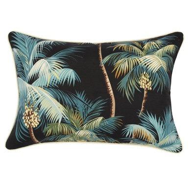 escape to paradise palm tree cushion cover black