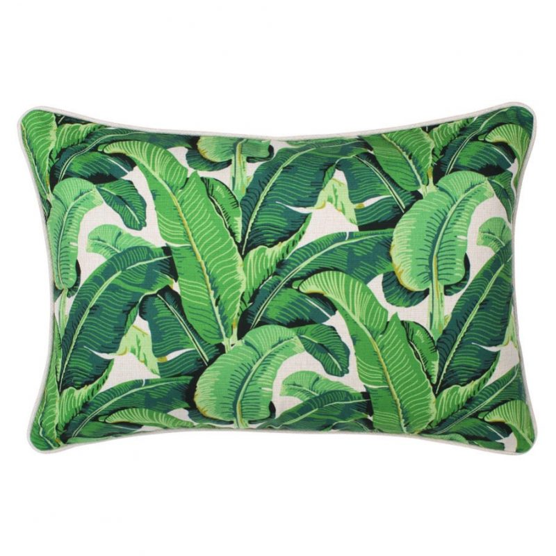 Banana leaf cushion escape to paradise
