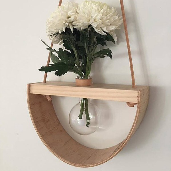 1/2 moon wooden wall vase single round stix and flora