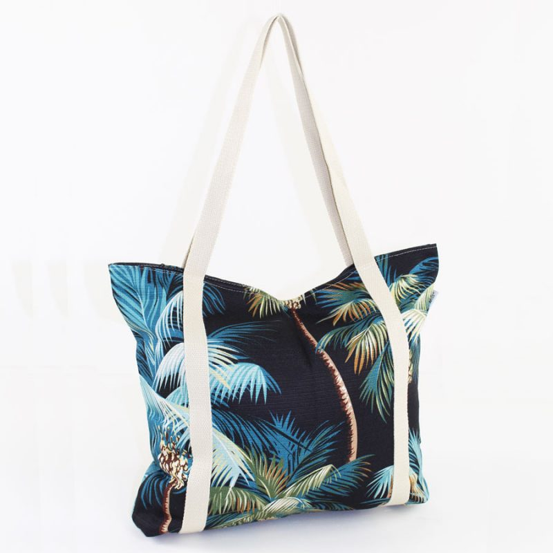 beach bag black palms escape to paradise