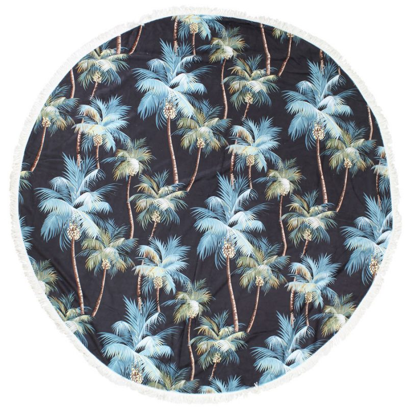palm trees round towel escape to paradise