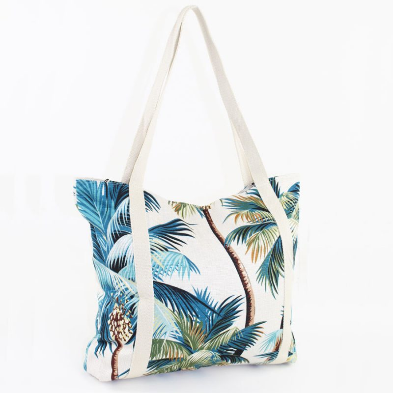 beach bag palm trees natural escape to paradise